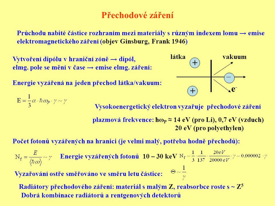 Přechodové záření Průchodu nabité částice rozhraním mezi materiály s různým indexem lomu → emise elektromagnetického záření (objev Ginsburg, Frank 1946) e-e- + + vakuumlátka Vytvoření dipólu v hraniční zóně → dipól, elmg.