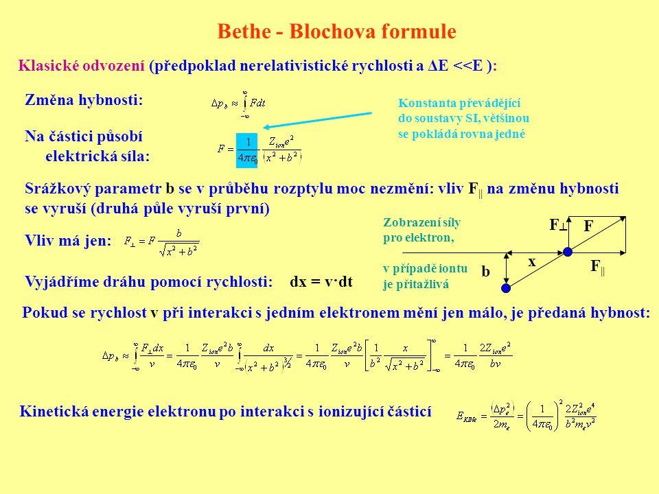 Bethe - Blochova formule Změna hybnosti: Srážkový parametr b se v průběhu rozptylu moc nezmění: vliv F || na změnu hybnosti se vyruší (druhá půle vyruší první) Vliv má jen: Pokud se rychlost v při interakci s jedním elektronem mění jen málo, je předaná hybnost: dx = v·dt Klasické odvození (předpoklad nerelativistické rychlosti a ΔE <<E ): Kinetická energie elektronu po interakci s ionizující částicí Vyjádříme dráhu pomocí rychlosti: Konstanta převádějící do soustavy SI, většinou se pokládá rovna jedné Na částici působí elektrická síla: b x F || F┴F┴ F Zobrazení síly pro elektron, v případě iontu je přitažlivá