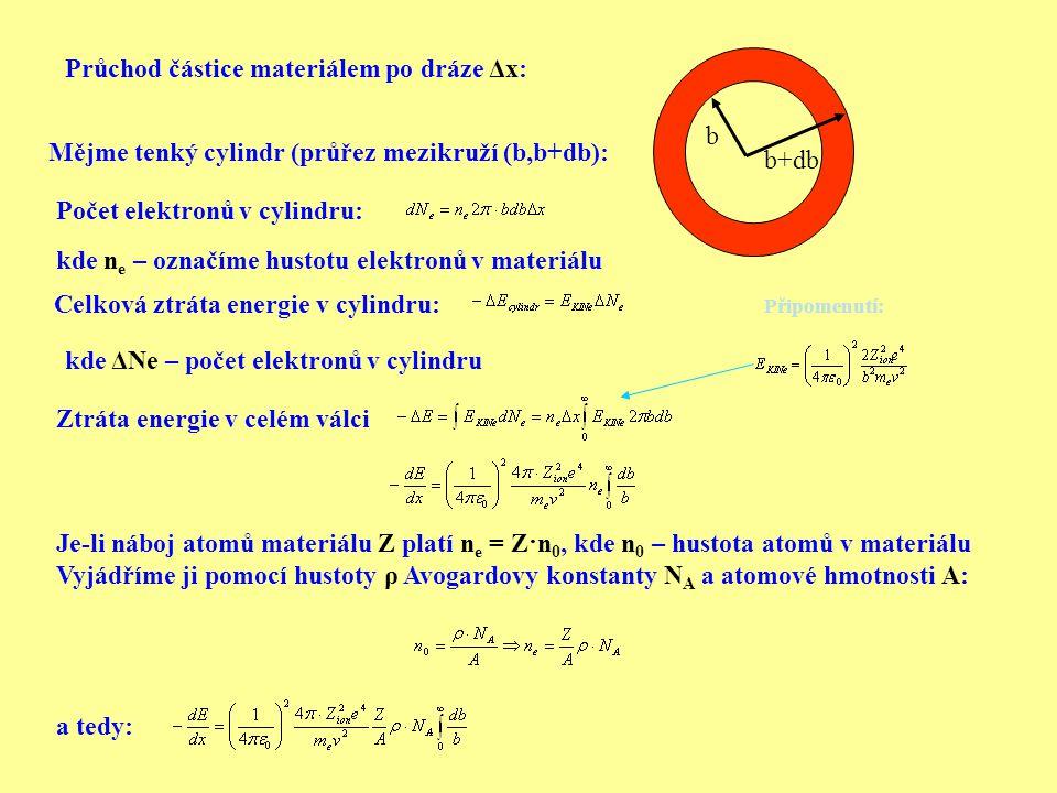 Průchod částice materiálem po dráze Δx: Mějme tenký cylindr (průřez mezikruží (b,b+db): Počet elektronů v cylindru: Celková ztráta energie v cylindru: Ztráta energie v celém válci kde ΔNe – počet elektronů v cylindru Je-li náboj atomů materiálu Z platí n e = Z·n 0, kde n 0 – hustota atomů v materiálu Vyjádříme ji pomocí hustoty ρ Avogardovy konstanty N A a atomové hmotnosti A: a tedy: b b+db kde n e – označíme hustotu elektronů v materiálu Připomenutí: