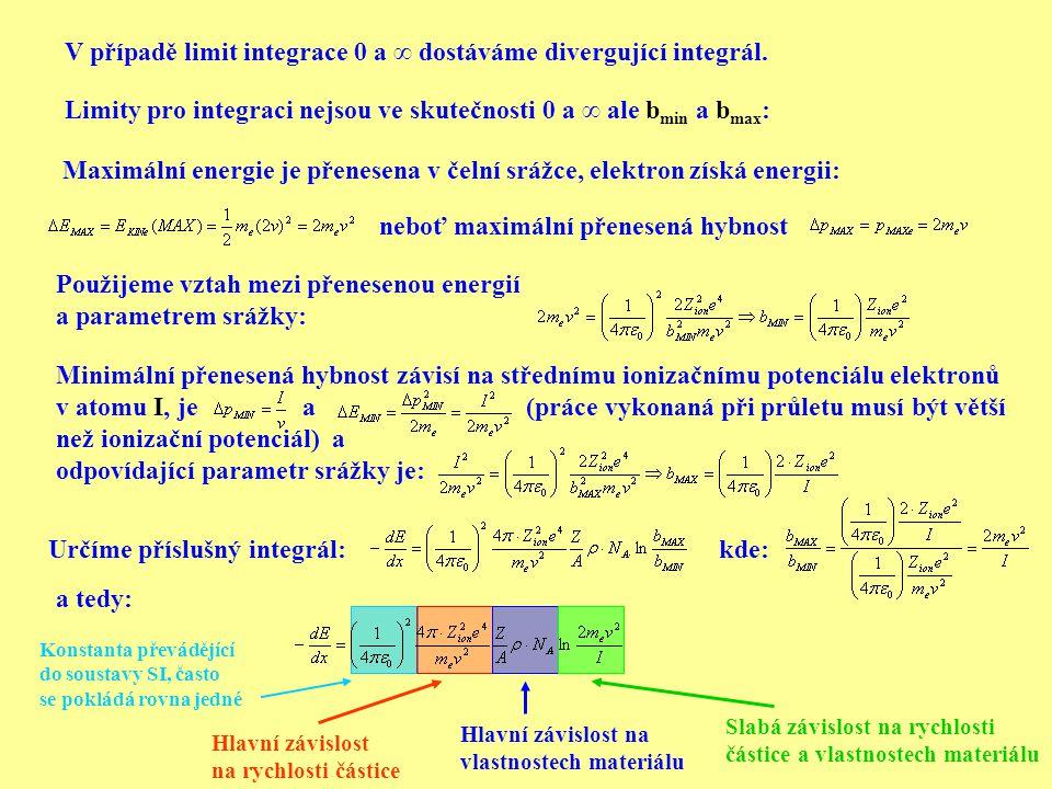 Limity pro integraci nejsou ve skutečnosti 0 a ∞ ale b min a b max : V případě limit integrace 0 a ∞ dostáváme divergující integrál. Maximální energie