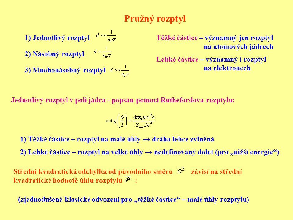 """Pružný rozptyl 1) Jednotlivý rozptyl 2) Násobný rozptyl 3) Mnohonásobný rozptyl Jednotlivý rozptyl v poli jádra - popsán pomocí Ruthefordova rozptylu: 1) Těžké částice – rozptyl na malé úhly → dráha lehce zvlněná 2) Lehké částice – rozptyl na velké úhly → nedefinovaný dolet (pro """"nižší energie ) Střední kvadratická odchylka od původního směru závisí na střední kvadratické hodnotě úhlu rozptylu : (zjednodušené klasické odvození pro """"těžké částice – malé úhly rozptylu) Těžké částice – významný jen rozptyl na atomových jádrech Lehké částice – významný i rozptyl na elektronech"""