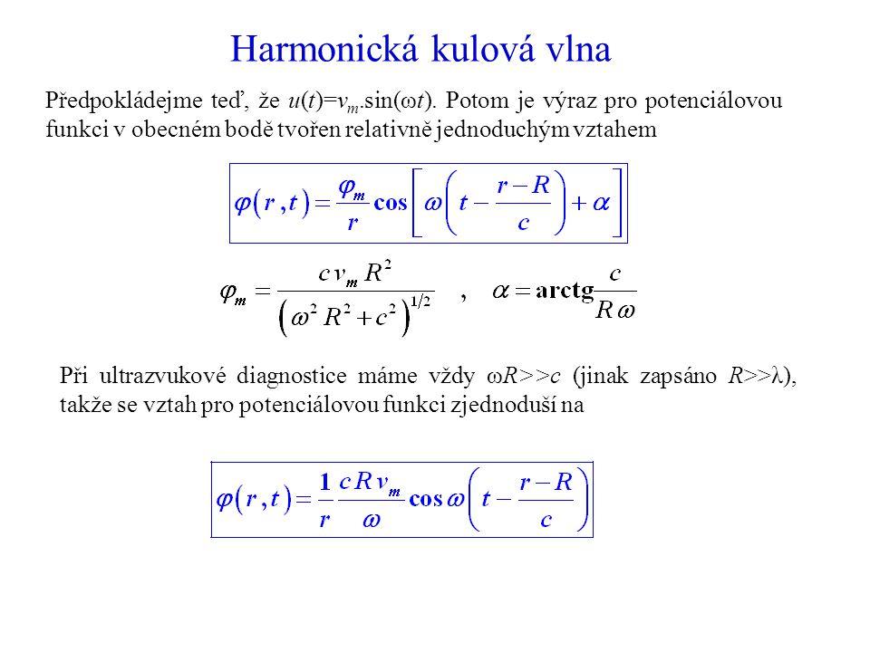 Harmonická kulová vlna Předpokládejme teď, že u(t)=v m.sin(ωt).