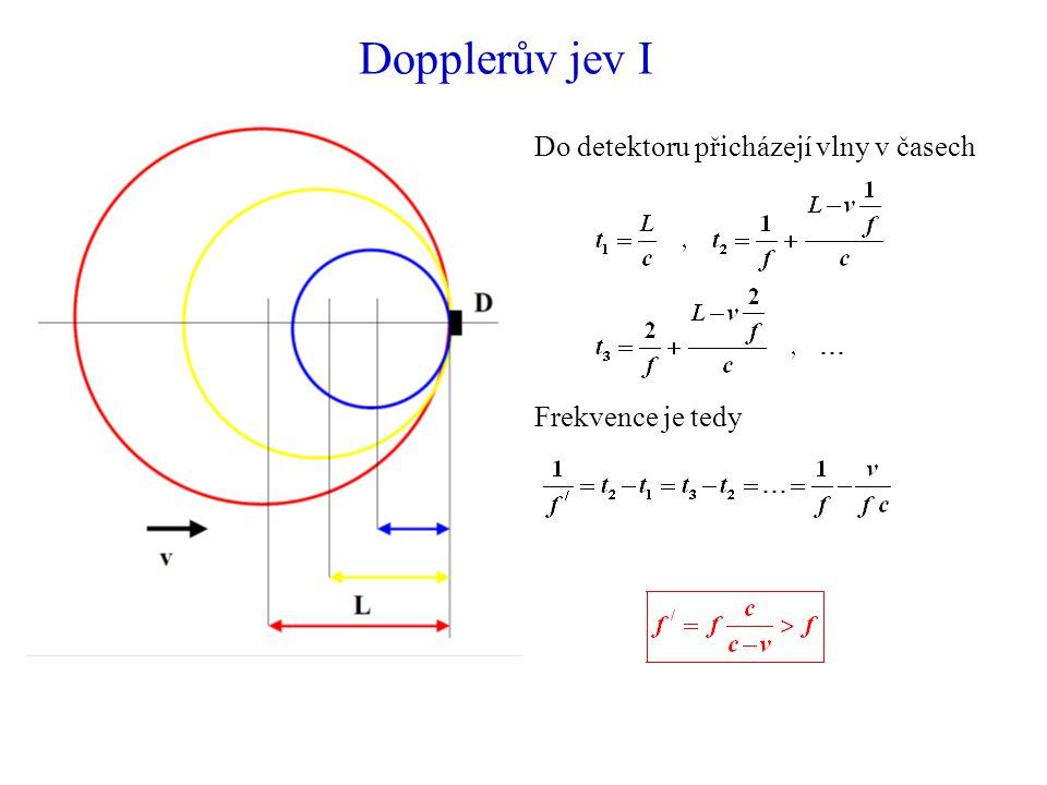 Dopplerův jev I Do detektoru přicházejí vlny v časech Frekvence je tedy