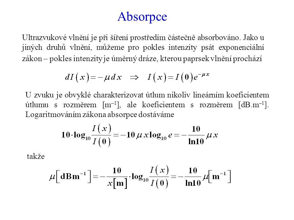 Absorpce Ultrazvukové vlnění je při šíření prostředím částečně absorbováno.