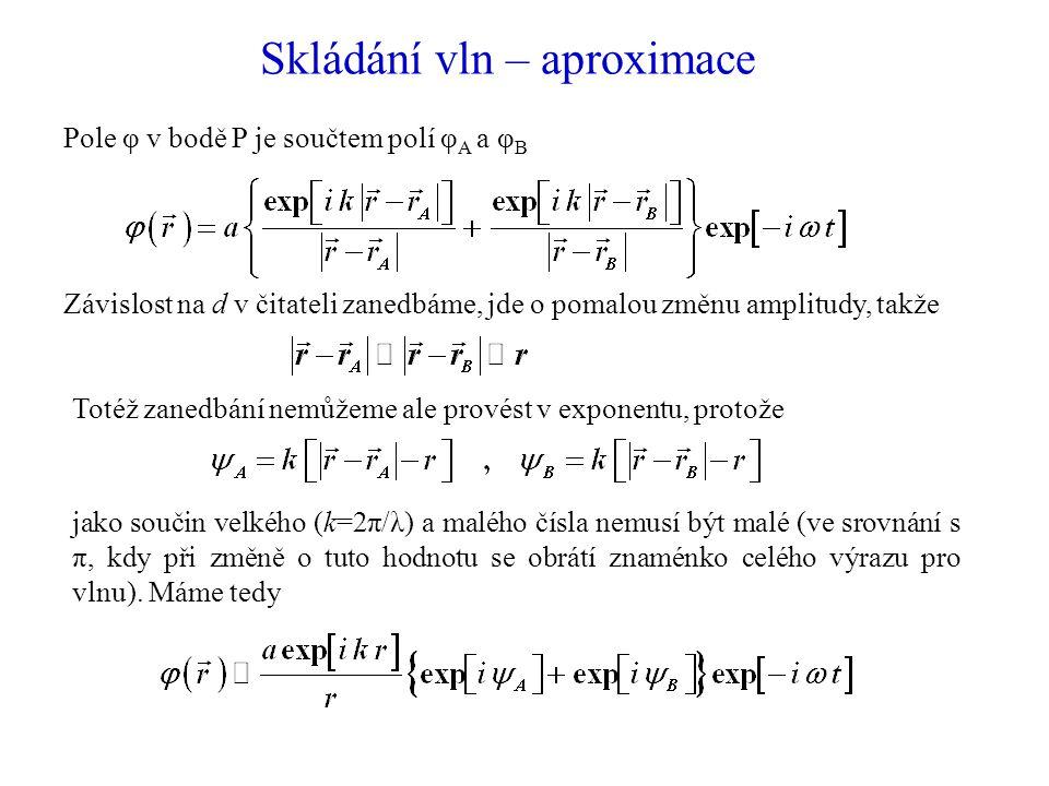 Skládání vln – aproximace Pole φ v bodě P je součtem polí φ A a φ B Závislost na d v čitateli zanedbáme, jde o pomalou změnu amplitudy, takže Totéž zanedbání nemůžeme ale provést v exponentu, protože jako součin velkého (k=2π/λ) a malého čísla nemusí být malé (ve srovnání s π, kdy při změně o tuto hodnotu se obrátí znaménko celého výrazu pro vlnu).