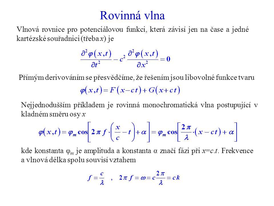 Rovinná vlna Vlnová rovnice pro potenciálovou funkci, která závisí jen na čase a jedné kartézské souřadnici (třeba x) je Nejjednodušším příkladem je rovinná monochromatická vlna postupující v kladném směru osy x kde konstanta φ m je amplituda a konstanta α značí fázi při x=c.t.