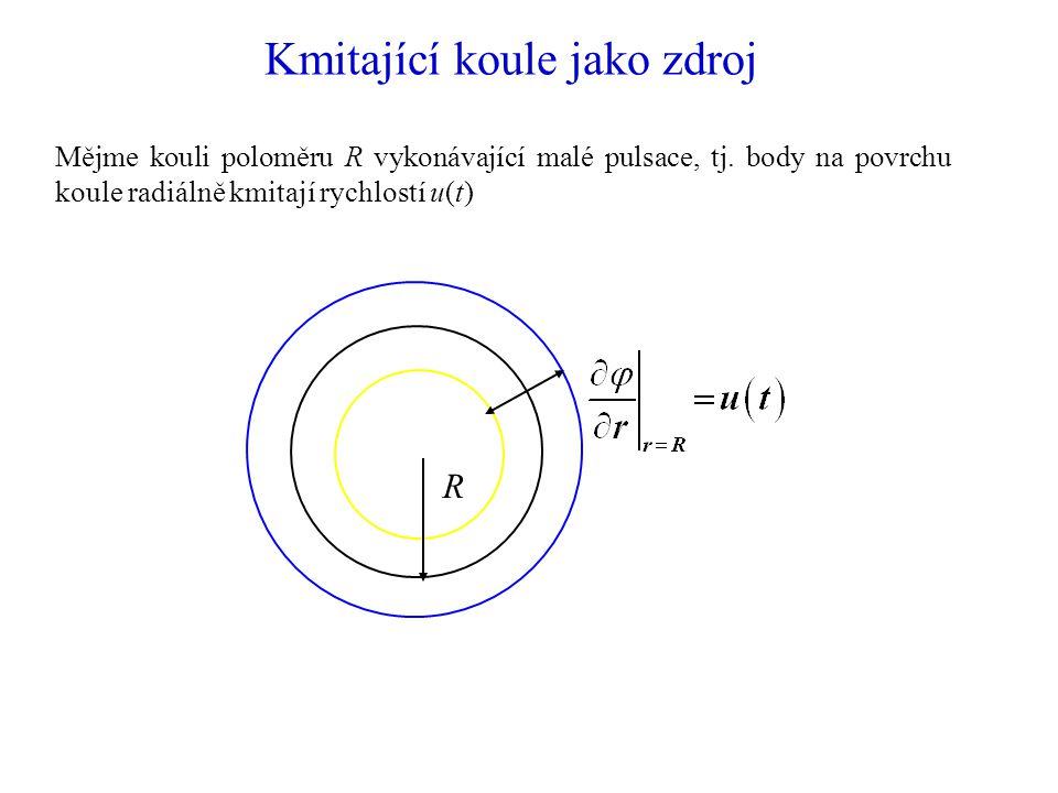 Kmitající koule jako zdroj Mějme kouli poloměru R vykonávající malé pulsace, tj.
