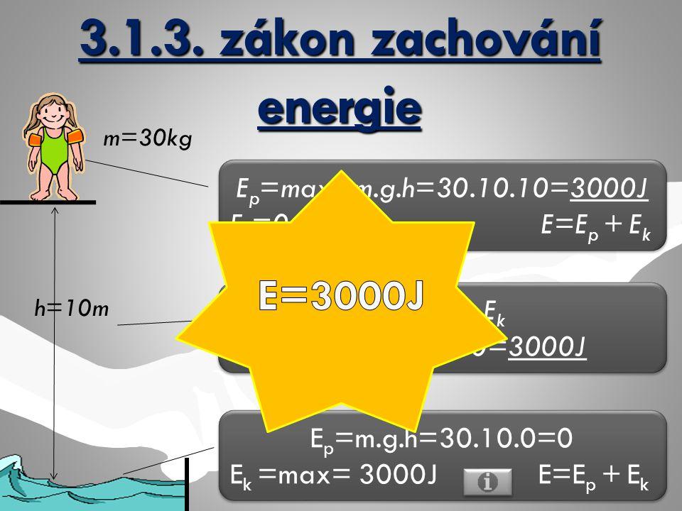 h=10m m=30kg E p =max=m.g.h=30.10.10=3000J E k =0 E=E p + E k E p =max=m.g.h=30.10.10=3000J E k =0 E=E p + E k E=E p + E k E=1500+1500=3000J E p =m.g.