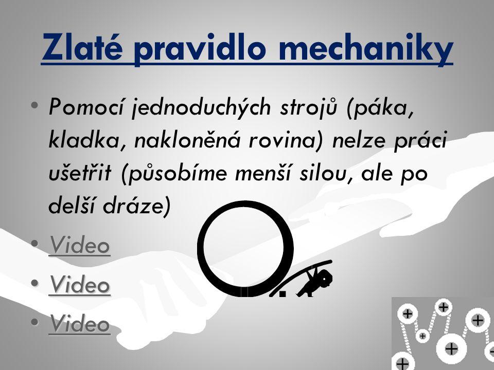 Zlaté pravidlo mechaniky Pomocí jednoduchých strojů (páka, kladka, nakloněná rovina) nelze práci ušetřit (působíme menší silou, ale po delší dráze) Vi