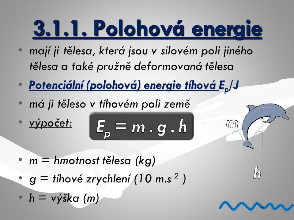 3.1.1. Polohová energie mají ji tělesa, která jsou v silovém poli jiného tělesa a také pružně deformovaná tělesa Potenciální (polohová) energie tíhová