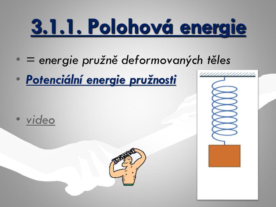 3.1.1. Polohová energie = energie pružně deformovaných těles Potenciální energie pružnostiPotenciální energie pružnosti videovideovideo