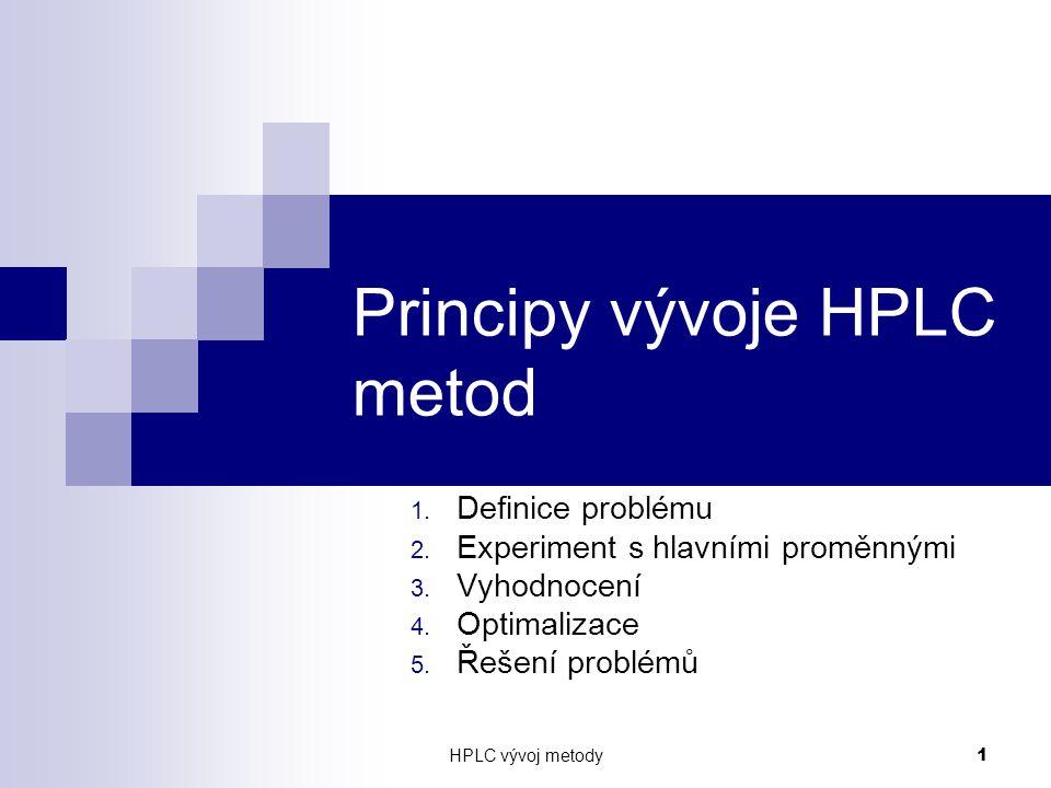HPLC vývoj metody 1 Principy vývoje HPLC metod 1. Definice problému 2. Experiment s hlavními proměnnými 3. Vyhodnocení 4. Optimalizace 5. Řešení probl