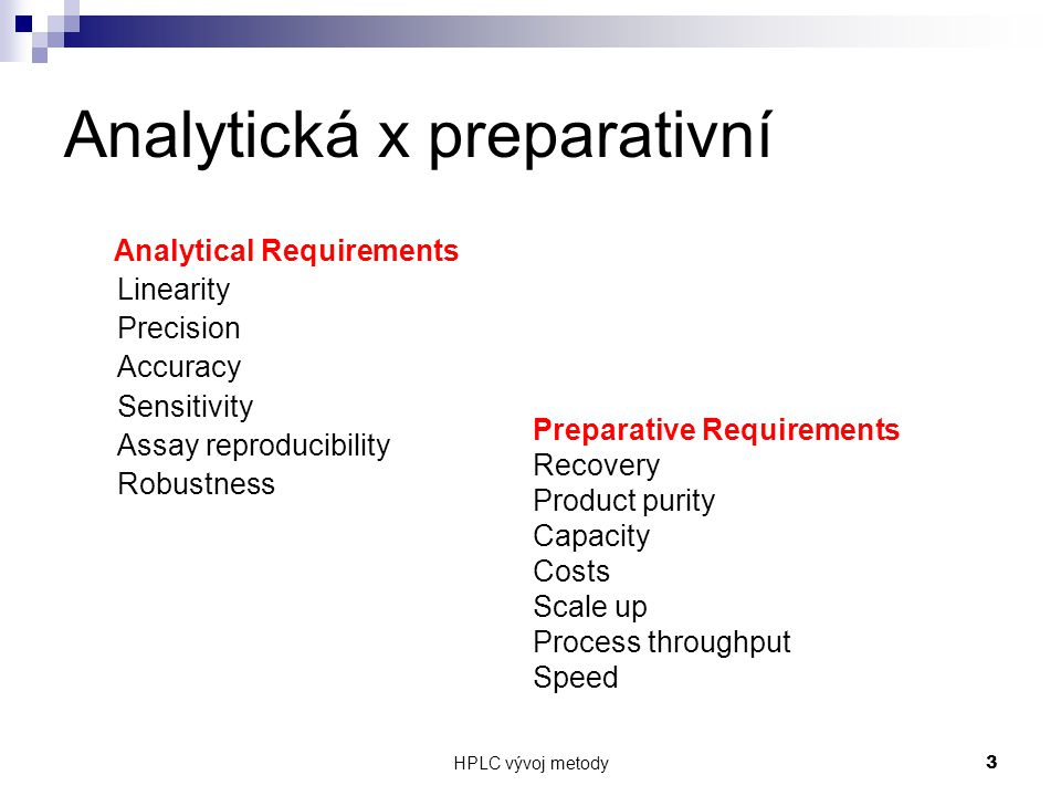 HPLC vývoj metody 3 Analytická x preparativní Analytical Requirements Linearity Precision Accuracy Sensitivity Assay reproducibility Robustness Preparative Requirements Recovery Product purity Capacity Costs Scale up Process throughput Speed