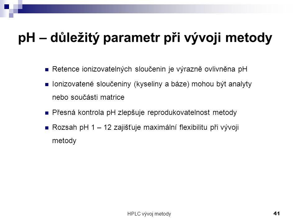 HPLC vývoj metody 41 pH – důležitý parametr při vývoji metody Retence ionizovatelných sloučenin je výrazně ovlivněna pH Ionizovatené sloučeniny (kysel