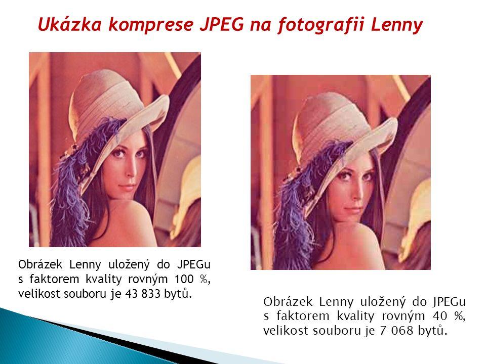 Obrázek Lenny uložený do JPEGu s faktorem kvality rovným 100 %, velikost souboru je 43 833 bytů.