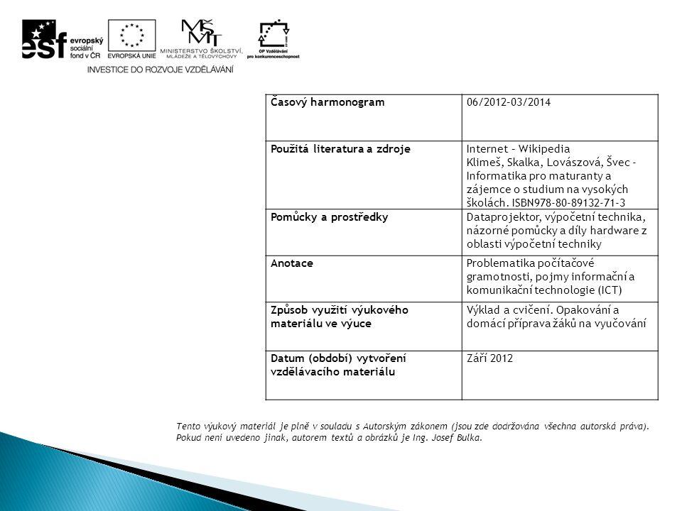 Časový harmonogram06/2012–03/2014 Použitá literatura a zdrojeInternet – Wikipedia Klimeš, Skalka, Lovászová, Švec - Informatika pro maturanty a zájemce o studium na vysokých školách.