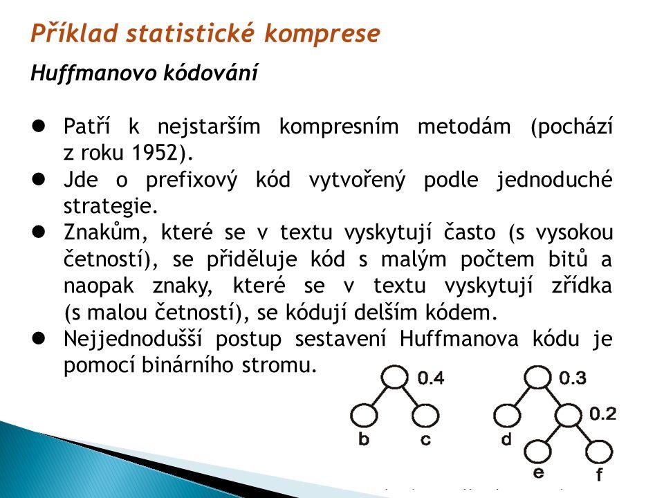 Příklad statistické komprese Huffmanovo kódování Patří k nejstarším kompresním metodám (pochází z roku 1952).