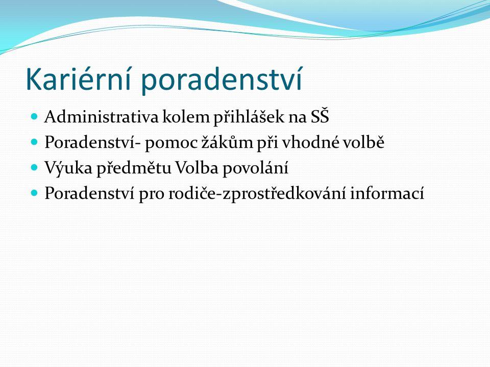 Kariérní poradenství Administrativa kolem přihlášek na SŠ Poradenství- pomoc žákům při vhodné volbě Výuka předmětu Volba povolání Poradenství pro rodiče-zprostředkování informací