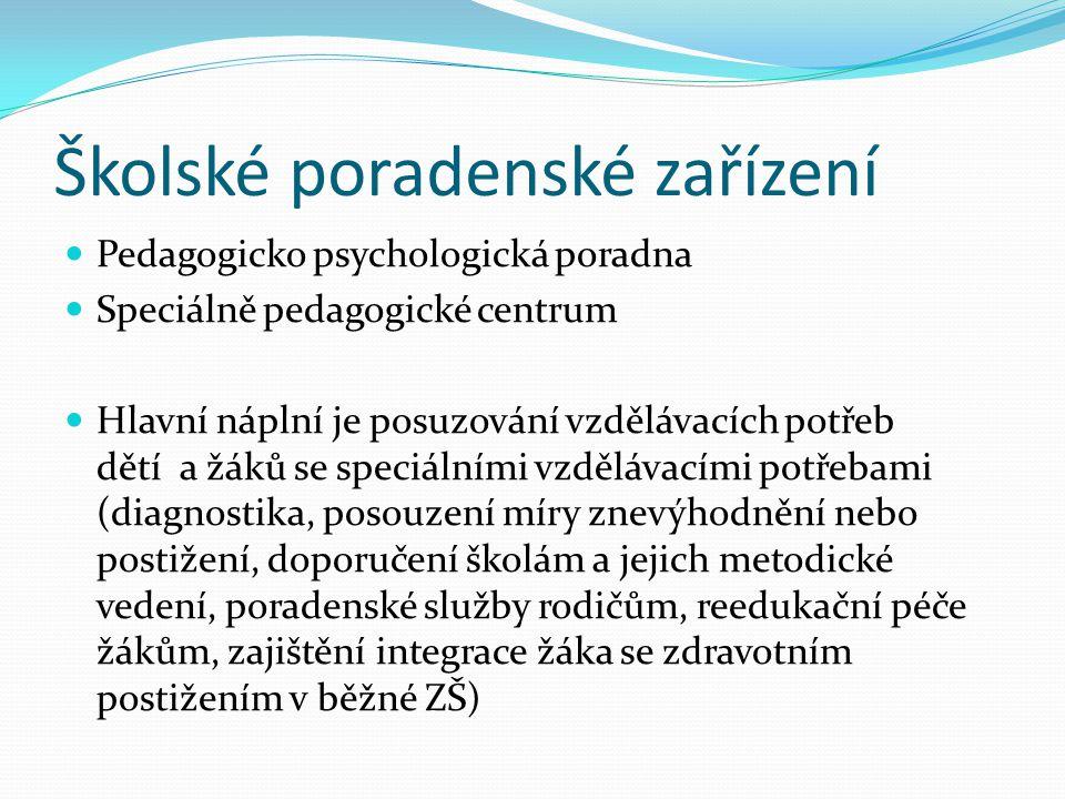 Školské poradenské zařízení Pedagogicko psychologická poradna Speciálně pedagogické centrum Hlavní náplní je posuzování vzdělávacích potřeb dětí a žák