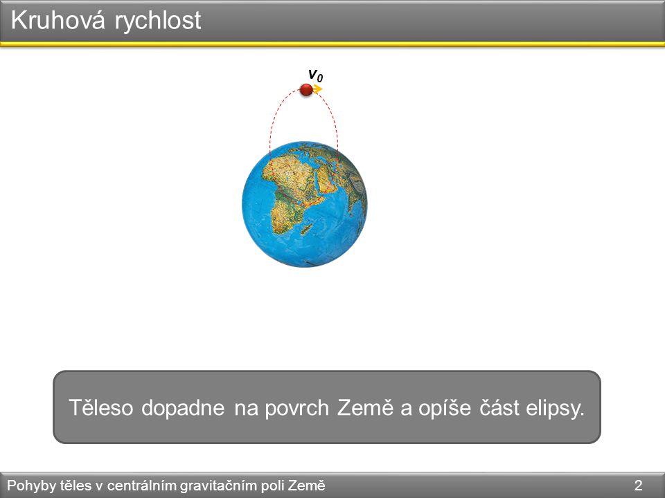 Kruhová rychlost Pohyby těles v centrálním gravitačním poli Země 2 Těleso dopadne na povrch Země a opíše část elipsy.