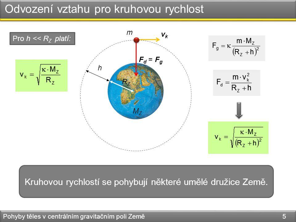 Odvození vztahu pro kruhovou rychlost Pohyby těles v centrálním gravitačním poli Země 5 Kruhovou rychlostí se pohybují některé umělé družice Země.