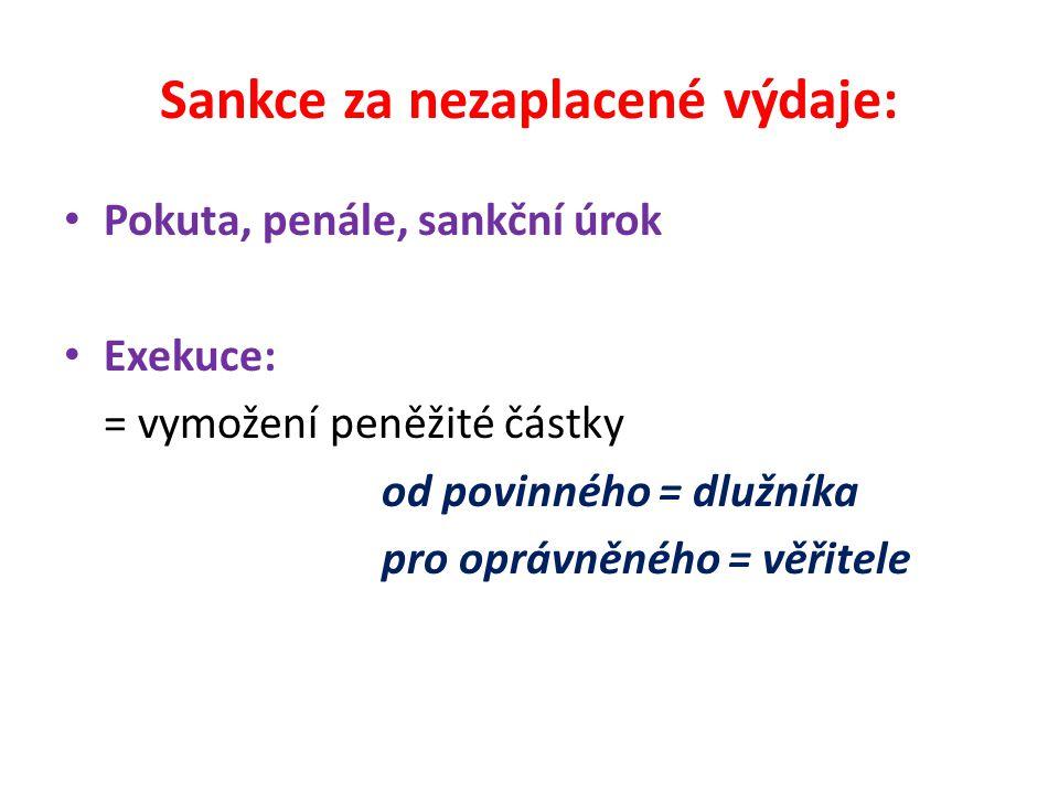 Sankce za nezaplacené výdaje: Pokuta, penále, sankční úrok Exekuce: = vymožení peněžité částky od povinného = dlužníka pro oprávněného = věřitele
