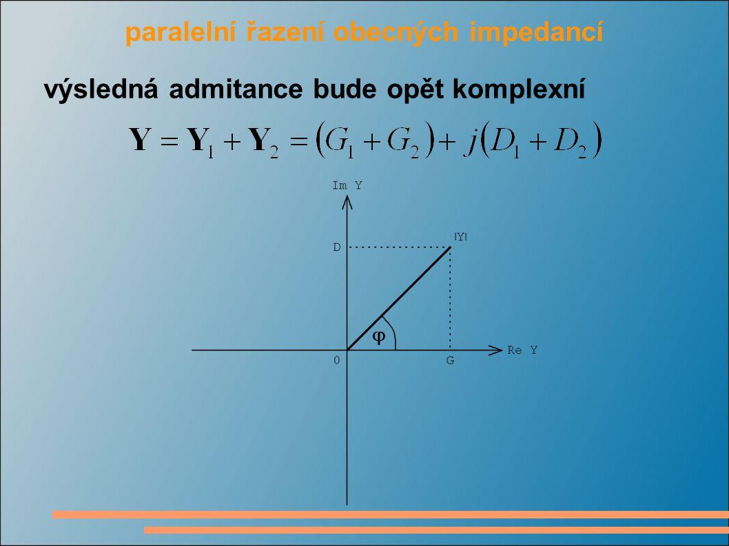 paralelní řazení obecných impedancí výsledná admitance bude opět komplexní