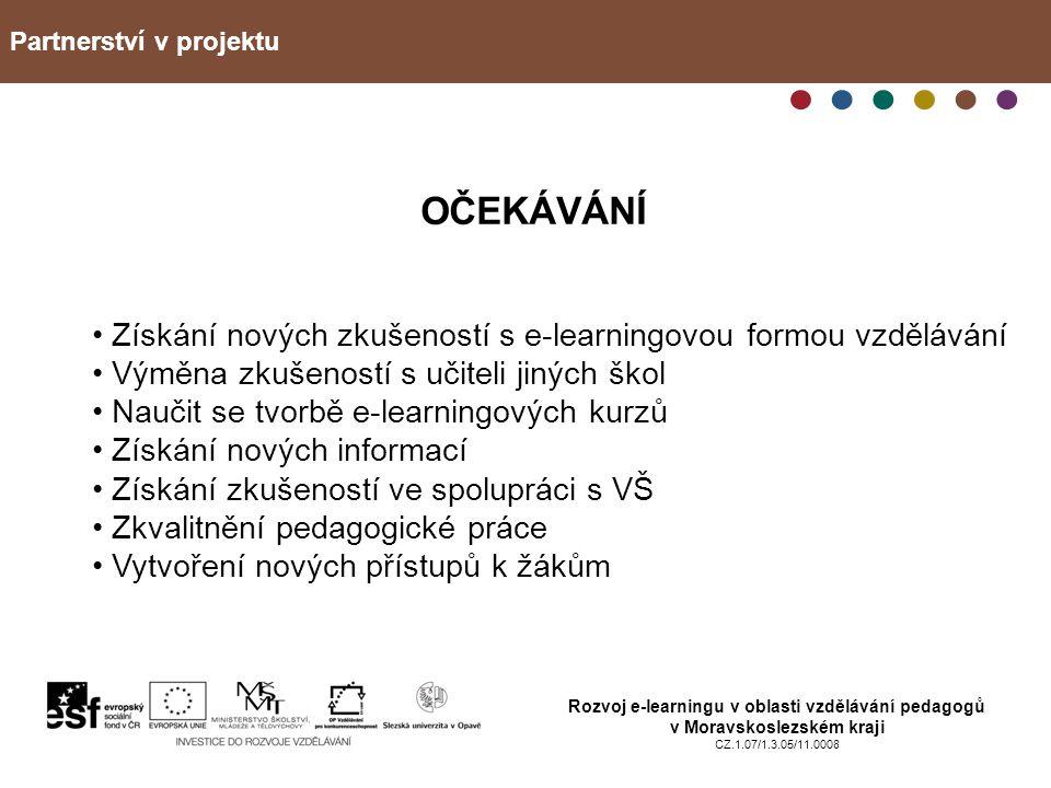 Partnerství v projektu Rozvoj e-learningu v oblasti vzdělávání pedagogů v Moravskoslezském kraji CZ.1.07/1.3.05/11.0008 OČEKÁVÁNÍ Získání nových zkuše