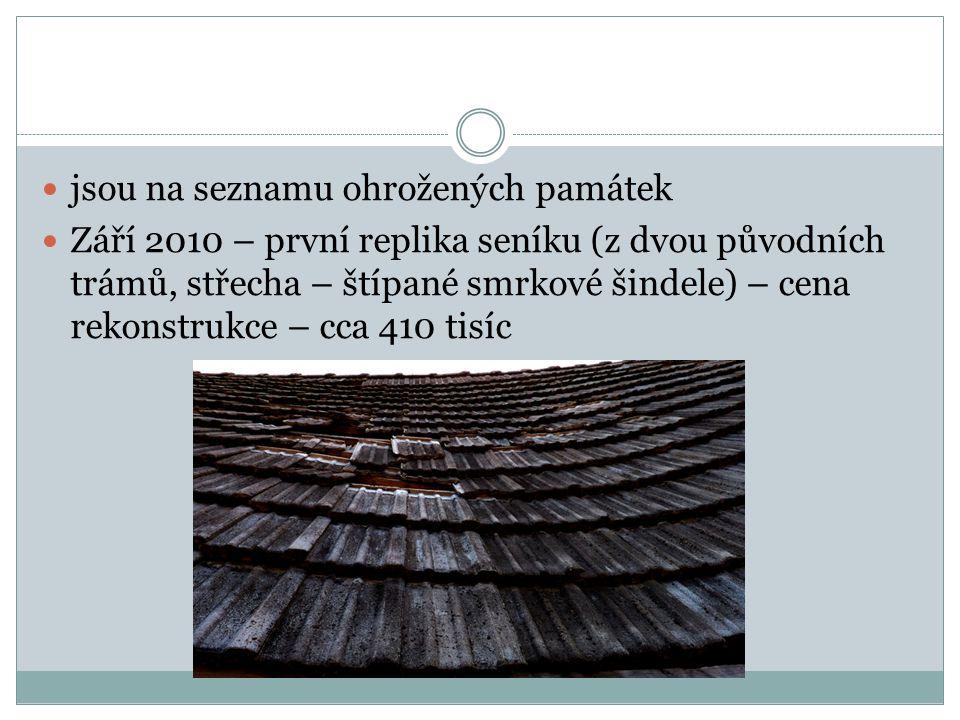 jsou na seznamu ohrožených památek Září 2010 – první replika seníku (z dvou původních trámů, střecha – štípané smrkové šindele) – cena rekonstrukce – cca 410 tisíc