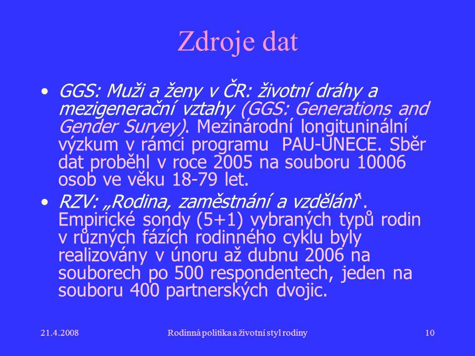 21.4.2008Rodinná politika a životní styl rodiny10 Zdroje dat GGS: Muži a ženy v ČR: životní dráhy a mezigenerační vztahy (GGS: Generations and Gender Survey).