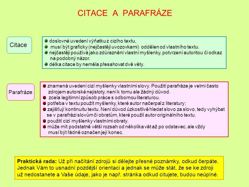ODBORNÁ LITERATURA Zápis provádět dle příslušné normy – příloha Met. pokynu č. 4/2014-2015 Minimálně 5 titulů v zadání bakalářské práce, doporučeno vy