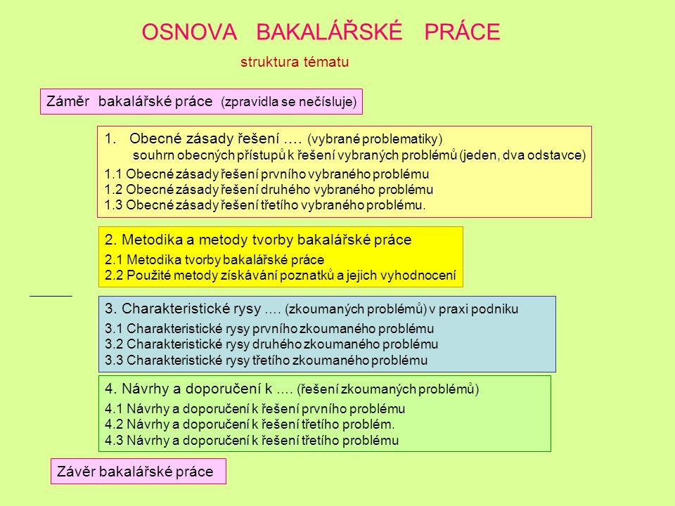 OSNOVA BAKALÁŘSKÉ PRÁCE a) Struktura tématu: Záměr bakalářské práce 1. Obecná východiska řešení vybraných problémů (doplnit, uvést o které problémy se