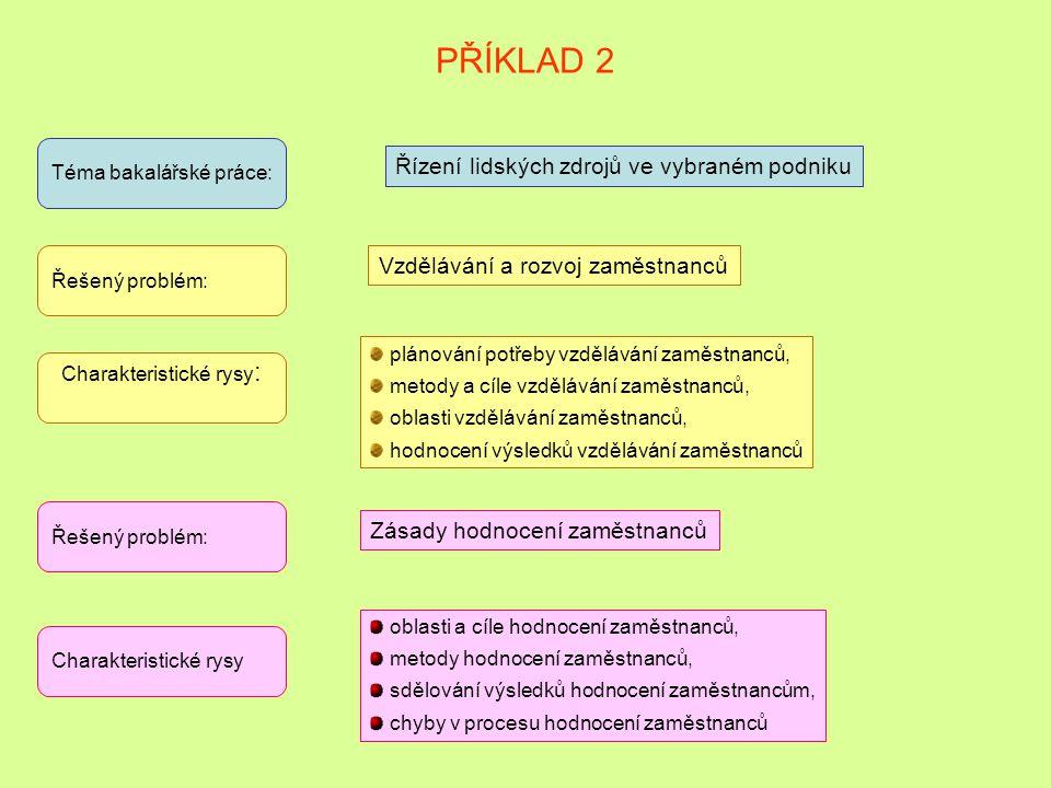 PŘÍKLAD 1 Téma bakalářské práce: Řízení procesu inovací ve vybraném podniku Řešený problém: Zásady přípravy a realizace vybraných inovačních aktivit C