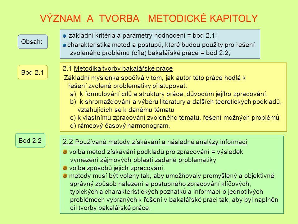 VÝZNAM VÝBĚRU OBECNÝCH ZÁSAD ZKOUMANÝCH PROBLÉMŮ Obsah: teoretické poznatky, vztahující se ke zvolenému problému = prokázat poznatky získané studiem a