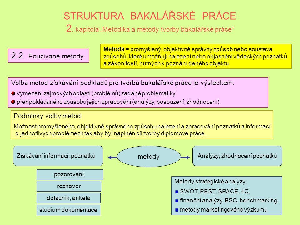"""STRUKTURA BAKALÁŘSKÉ PRÁCE 2. kapitola """"Metodika a metody tvorby bakalářské práce"""" 2.1 Metodika tvorby bakalářské práce Základní myšlenka spočívá v to"""