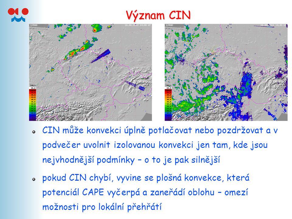 Význam CIN CIN může konvekci úplně potlačovat nebo pozdržovat a v podvečer uvolnit izolovanou konvekci jen tam, kde jsou nejvhodnější podmínky – o to