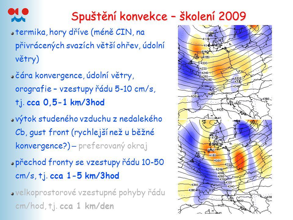 Spuštění konvekce – školení 2009 termika, hory dříve (méně CIN, na přivrácených svazích větší ohřev, údolní větry) čára konvergence, údolní větry, oro