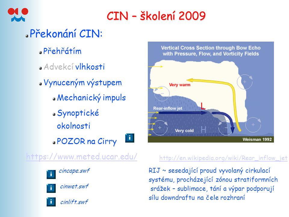 CIN – školení 2009 Překonání CIN: Přehřátím Advekcí vlhkosti Vynuceným výstupem Mechanický impuls Synoptické okolnosti POZOR na Cirry http://en.wikipe
