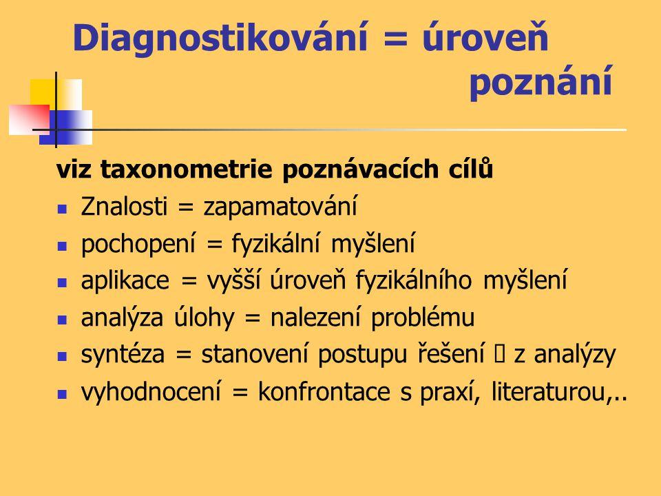 Diagnostikování = úroveň poznání viz taxonometrie poznávacích cílů Znalosti = zapamatování pochopení = fyzikální myšlení aplikace = vyšší úroveň fyzik