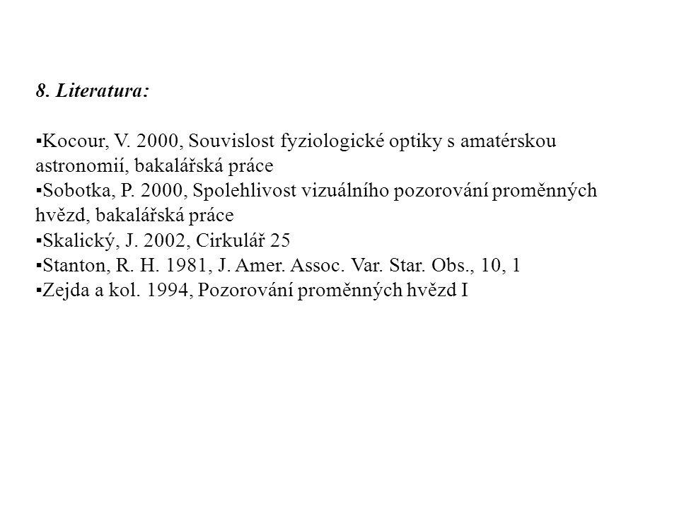 8. Literatura: ▪Kocour, V. 2000, Souvislost fyziologické optiky s amatérskou astronomií, bakalářská práce ▪Sobotka, P. 2000, Spolehlivost vizuálního p