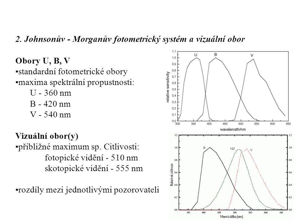 2. Johnsonův - Morganův fotometrický systém a vizuální obor Obory U, B, V ▪standardní fotometrické obory ▪maxima spektrální propustnosti: U - 360 nm B