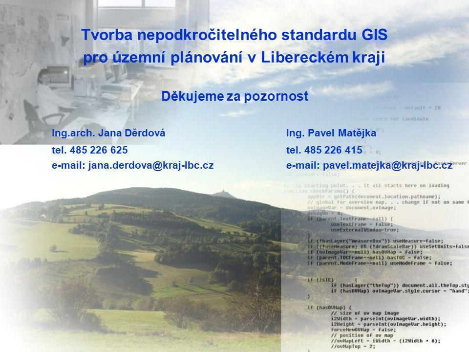Tvorba nepodkročitelného standardu GIS pro územní plánování v Libereckém kraji Děkujeme za pozornost Ing.arch.