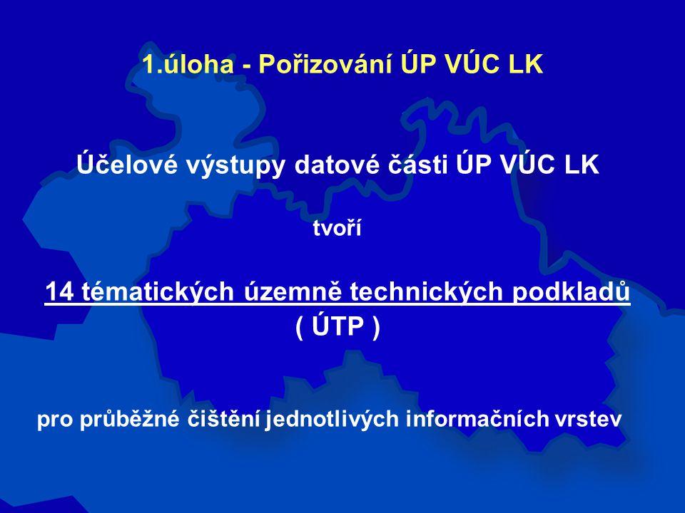 Účelové výstupy datové části ÚP VÚC LK tvoří 14 tématických územně technických podkladů ( ÚTP ) pro průběžné čištění jednotlivých informačních vrstev