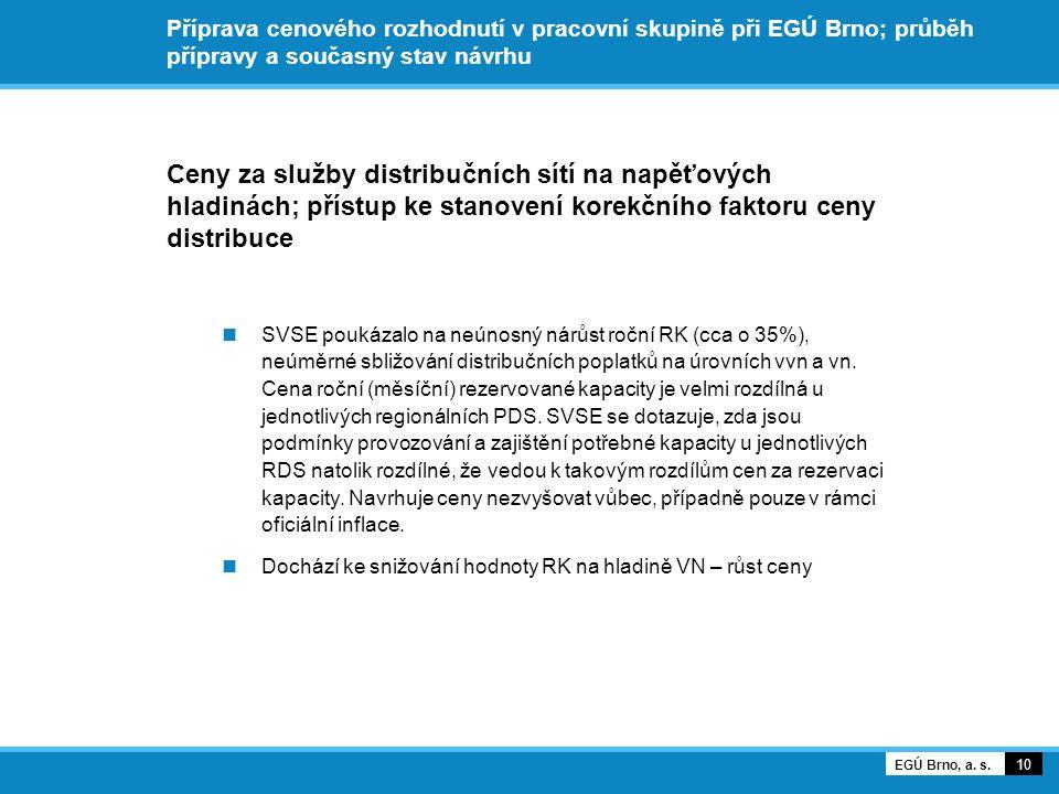Příprava cenového rozhodnutí v pracovní skupině při EGÚ Brno; průběh přípravy a současný stav návrhu Ceny za služby distribučních sítí na napěťových hladinách; přístup ke stanovení korekčního faktoru ceny distribuce SVSE poukázalo na neúnosný nárůst roční RK (cca o 35%), neúměrné sbližování distribučních poplatků na úrovních vvn a vn.