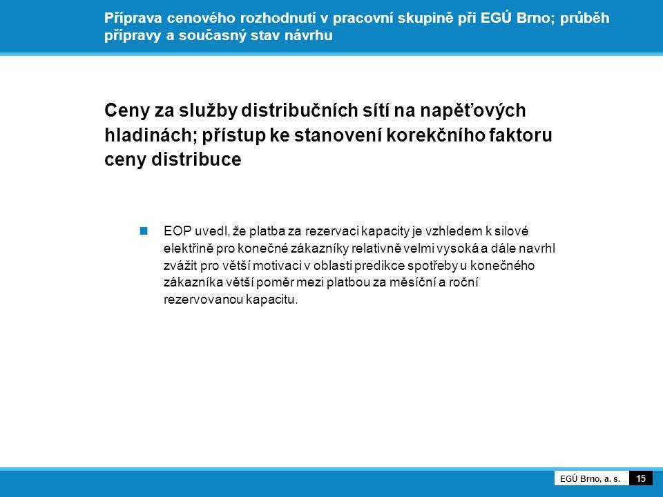 Příprava cenového rozhodnutí v pracovní skupině při EGÚ Brno; průběh přípravy a současný stav návrhu Ceny za služby distribučních sítí na napěťových hladinách; přístup ke stanovení korekčního faktoru ceny distribuce EOP uvedl, že platba za rezervaci kapacity je vzhledem k silové elektřině pro konečné zákazníky relativně velmi vysoká a dále navrhl zvážit pro větší motivaci v oblasti predikce spotřeby u konečného zákazníka větší poměr mezi platbou za měsíční a roční rezervovanou kapacitu.