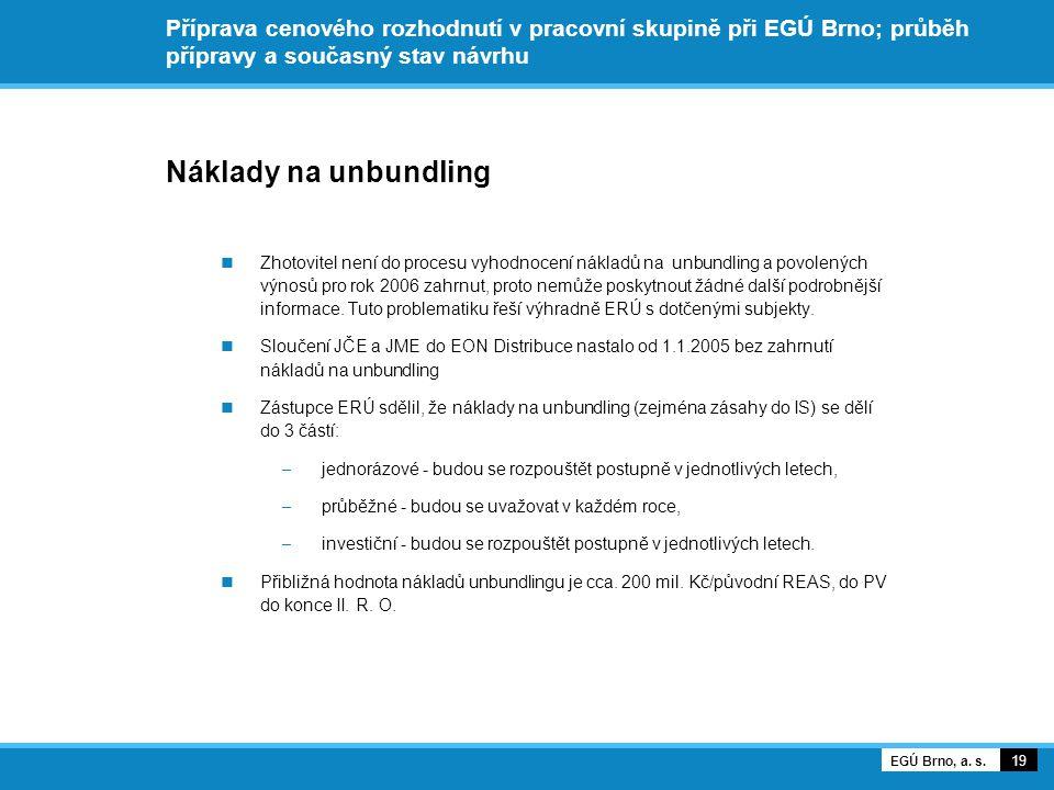Příprava cenového rozhodnutí v pracovní skupině při EGÚ Brno; průběh přípravy a současný stav návrhu Náklady na unbundling Zhotovitel není do procesu vyhodnocení nákladů na unbundling a povolených výnosů pro rok 2006 zahrnut, proto nemůže poskytnout žádné další podrobnější informace.