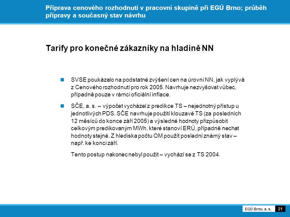Příprava cenového rozhodnutí v pracovní skupině při EGÚ Brno; průběh přípravy a současný stav návrhu Tarify pro konečné zákazníky na hladině NN SVSE poukázalo na podstatné zvýšení cen na úrovni NN, jak vyplývá z Cenového rozhodnutí pro rok 2005.