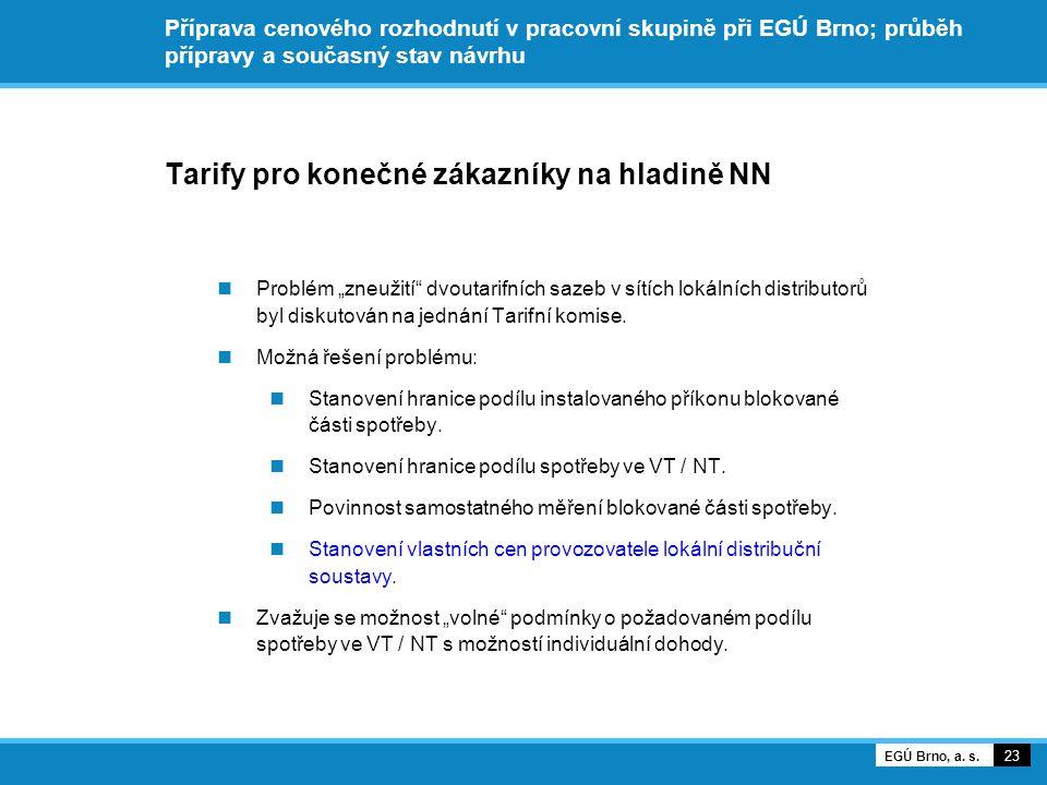 """Příprava cenového rozhodnutí v pracovní skupině při EGÚ Brno; průběh přípravy a současný stav návrhu Tarify pro konečné zákazníky na hladině NN Problém """"zneužití dvoutarifních sazeb v sítích lokálních distributorů byl diskutován na jednání Tarifní komise."""