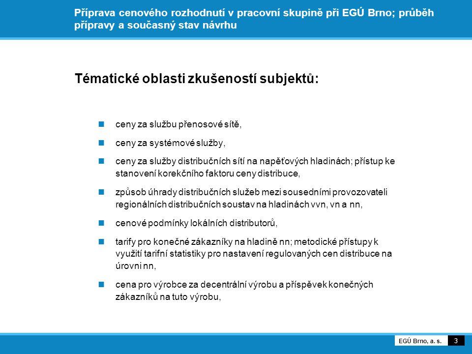 Příprava cenového rozhodnutí v pracovní skupině při EGÚ Brno; průběh přípravy a současný stav návrhu Tématické oblasti zkušeností subjektů: ceny za službu přenosové sítě, ceny za systémové služby, ceny za služby distribučních sítí na napěťových hladinách; přístup ke stanovení korekčního faktoru ceny distribuce, způsob úhrady distribučních služeb mezi sousedními provozovateli regionálních distribučních soustav na hladinách vvn, vn a nn, cenové podmínky lokálních distributorů, tarify pro konečné zákazníky na hladině nn; metodické přístupy k využití tarifní statistiky pro nastavení regulovaných cen distribuce na úrovni nn, cena pro výrobce za decentrální výrobu a příspěvek konečných zákazníků na tuto výrobu, 3 EGÚ Brno, a.