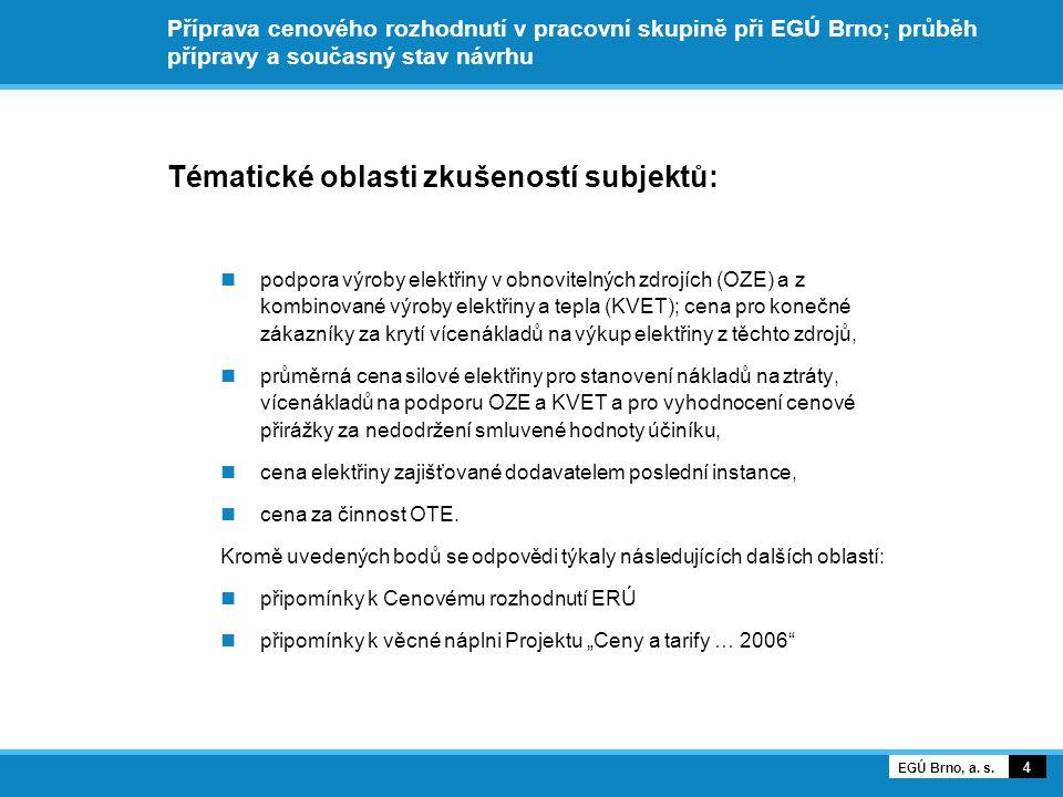 Příprava cenového rozhodnutí v pracovní skupině při EGÚ Brno; průběh přípravy a současný stav návrhu Tématické oblasti zkušeností subjektů: podpora výroby elektřiny v obnovitelných zdrojích (OZE) a z kombinované výroby elektřiny a tepla (KVET); cena pro konečné zákazníky za krytí vícenákladů na výkup elektřiny z těchto zdrojů, průměrná cena silové elektřiny pro stanovení nákladů na ztráty, vícenákladů na podporu OZE a KVET a pro vyhodnocení cenové přirážky za nedodržení smluvené hodnoty účiníku, cena elektřiny zajišťované dodavatelem poslední instance, cena za činnost OTE.